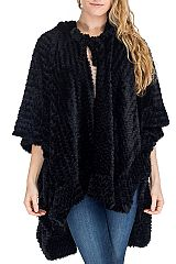 Hooded Velvet Fur Flower Pattern Shawl and Cardigan Ruffle Style