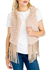 Extra Fluffy Faux Fur Vest with Suede Fringes