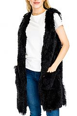 Extra Soft Brushed Fur Long Vest Styled Poncho with Pockets