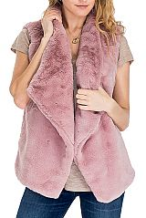 Short Brushed Puffed Up Faux Fur Vest
