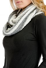 Two Tone Extra Soft Bubble Knit Infinity Scarf