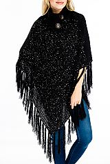 Turtleneck Styled Thick Wave Knit & Holed Sequins Poncho with Buttons and Fringes