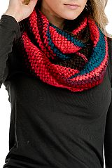 Extra Soft Multi-Toned Basket Knit Infinity Scarf