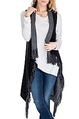 Solid Soft Thick Knitted Fringe Reversible Long Vest