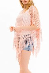 Laser Cut Mesh Itty chevron Pattern Thrown Over Fringe Cover Up