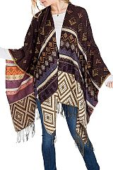 Tribal Aztec Shimmer Accented Open Poncho