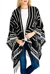 Striped and Geometric Design Shawl Poncho