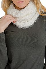Brushed & Angora Textured Extra Soft Chunk Knit Infinity Scarf