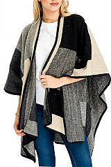 Block Checkered Pattern Softness Thick Felt Fabric Design Poncho