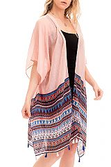Cultural Printed Abstract Shapes Flow Cardigan Kimono Cover Up