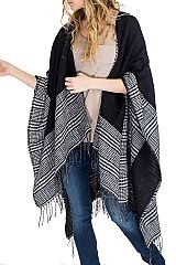 Double Sided Stripe Plaid Grey Scale Color Scheme Luxury Soft Poncho