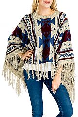 Aztec Pattern Thick Knitted with Fringe Poncho