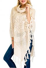 Pinwheel Pattern Design Hand-Made Knitted with Lace and Sequence Accent Luxury Turtle Neck Poncho