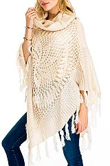 Pinwheel Pattern Design  Hand-Made Knitted  with Lace and Sequins Accent Luxury TurtleNeck Poncho