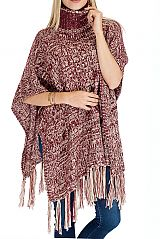 Cable Pattern Thick Hard Knitted Cowl Neck Style with Fringe Poncho