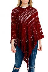 Sequins Threaded Coil Knit & Holed Throw Over Fringed Poncho