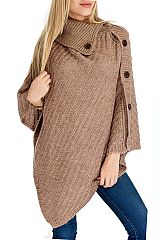 Two Tone Yarn Hoop Knit With Stylish Poncho