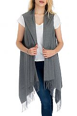 Extra Soft and Brushed Cashmere Blend Over-sized Shawl Scarf with Fringes Semi Sleeve Cardigan Style