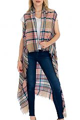 Multicolored and Plaid Patterned Blanket Felt Long Vest with Frayed Ends