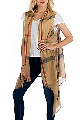 Plaid Pattern Soft Silk Feel  with All Gold Tinsel Point Semi Sheer Sleeveless Cardigan