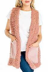 Double Textured Pocketed Untamed Faux Fur Fashion Vest
