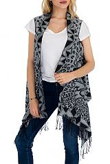 Cashmere Feel Super Softness Animal Geometric and Peonies With Oversized Semi Sheer Sleeveless Cardi