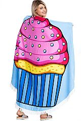 Over Sized Cupcake, Abstract Fish, and Abstract Peony Floral Printed Circular Beach Towel with Tasse