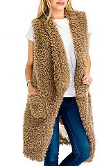 Soft To The Touch Mohair Brushed Fur Vest With Twin Pockets