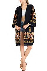Boho Chic Floral Stitched Cover Up Kimono