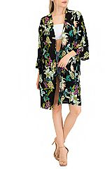 Jungle Floral Bell Sleeved Cover Up Kimono