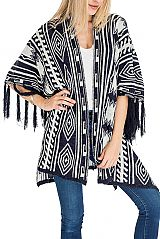 Abstract Geometric Patterned Thick Super Softness Poncho