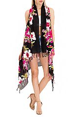 Cooling Cotton Luxury Soft Over Sized Tropical Blossomed Hibiscus Long Vest