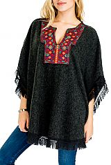 Crochet Hand Woven Vintage Poncho with Tassel
