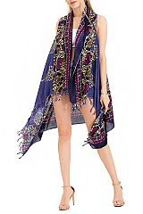 Cooling Cotton Luxury Soft Over Sized Mandala Abstract Floral Printed Long Vest