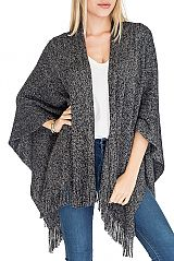 Cashmere Feel Fringe Super soft Tinsel accents Poncho