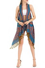 Butterfly  Design Pashmina Long Vest Made With Double Sided Color Feature