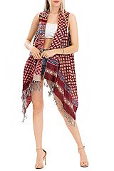 Diamond and Aztec Pattern Design Pashmina Made With Double Sided Color Feature Printed Fringed  Slee
