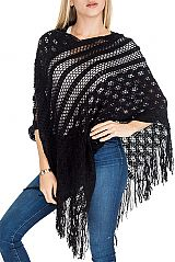 Diamond Pattern Double Spiral Knit Design  Poncho