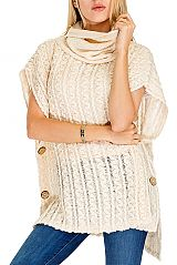Cashmere Feel Turtle Neck Zig Zeg Pattern with Button Design Super Softness Poncho Style