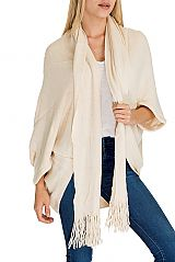 Soft Cashmere Feel Thick Poncho with Attached Scarf