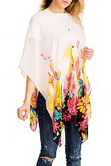 Buttoned Floral Water Color Effect Pattern Kimono Top