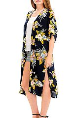 Tropical floral or Peony print Minimal Cardigan Cover Up Long body  Kimono