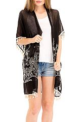 Lace Floral Embroidery with Lace Trim Top open Long Kimono