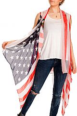American Flag Patterned & Semi Sheer and Distressed Long Vest