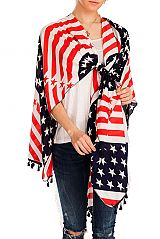 American Flag Patterned & Cardigan Styled Kimono with Fringes