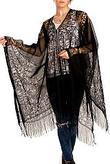 Luxurious Floral Patterned Lace Throw Over Poncho Styled Kimono with Frayed Ends