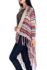 Multi Colorful Cardigan with Arm Poncho
