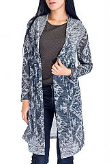 Aztec Pattern Design Women's Sweater Long Sleeve Cardigan with Hooded
