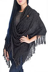 Mix Tone with Two Button Design with Fringe Luxury Poncho