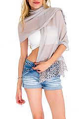 Daisy Petals Crochet Trimmed Breathable Oblong Scarves